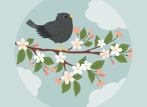 使用AI软件,手把手教你画一幅春日花开鸟鸣的插画