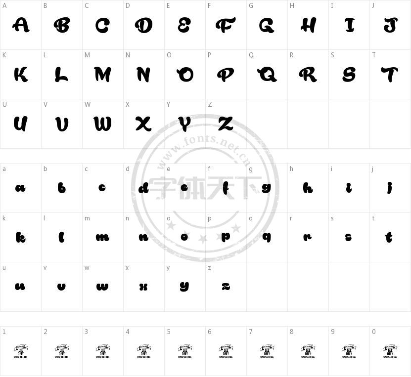 Rakoon的字符映射图