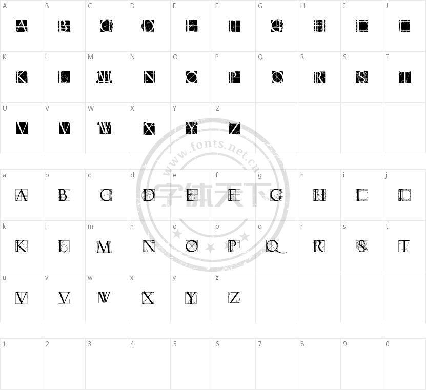Neudoerffer Scribble Quality的字符映射图