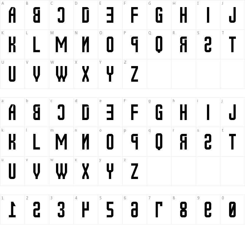 New Russia 2108 St的字符映射图