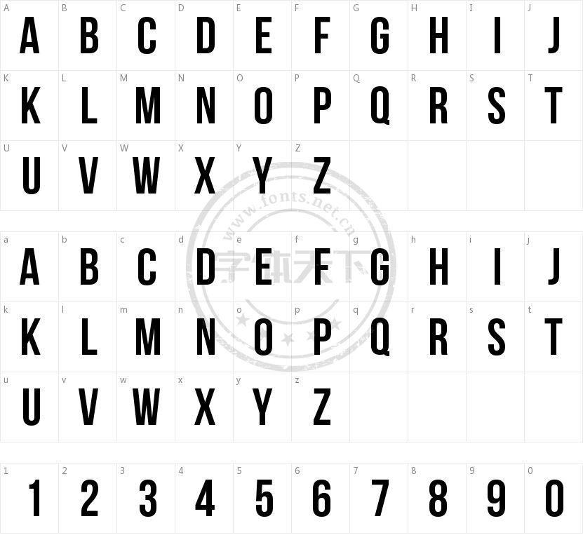 Bebas Neue的字符映射图