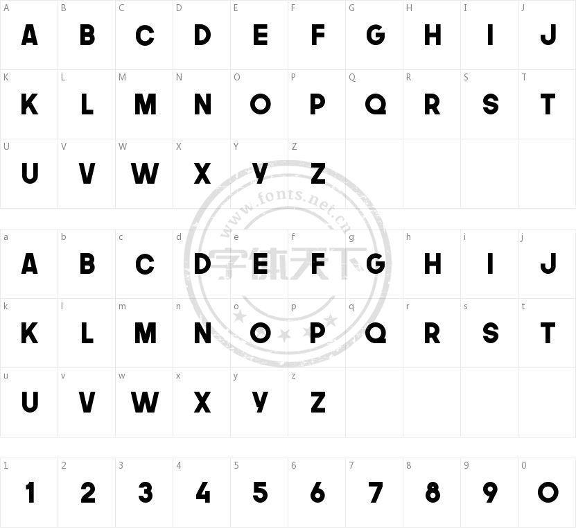 The Next Font的字符映射图