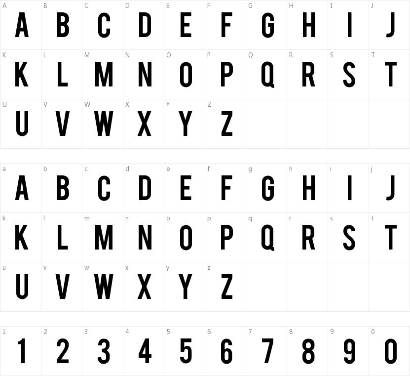 Bebas的字符映射图