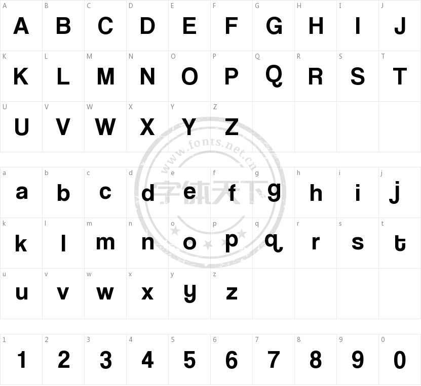 Coolvetica的字符映射图