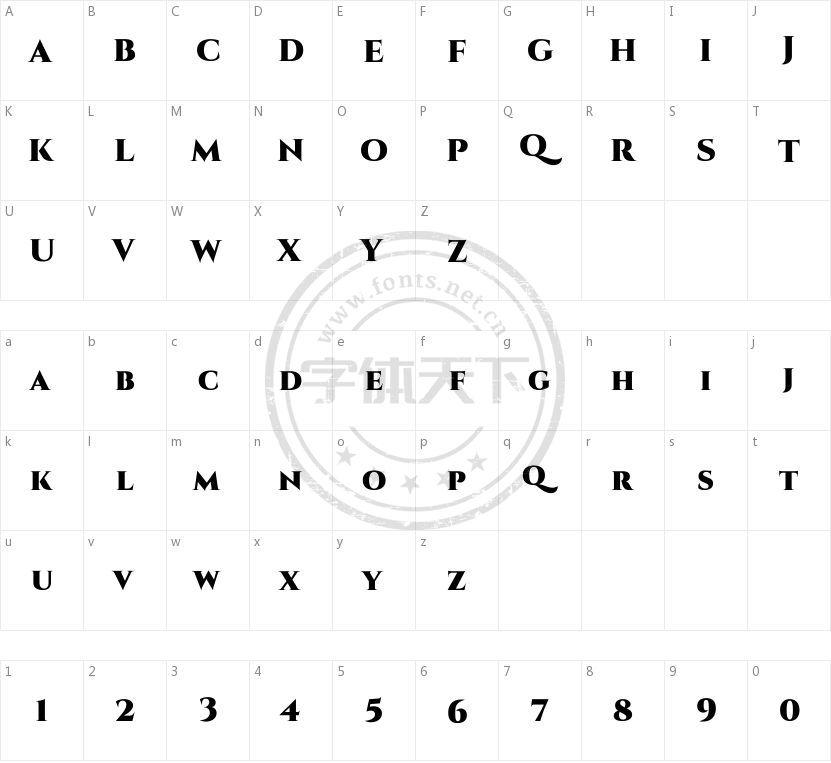 Cinzel的字符映射图