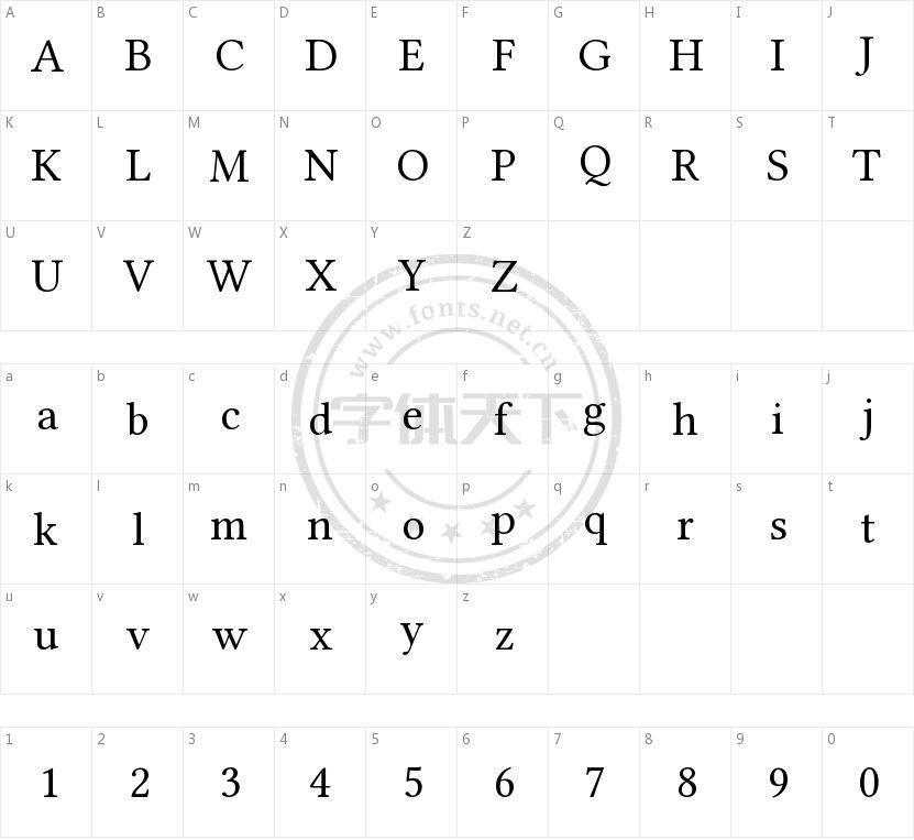 Linux Libertine的字符映射图