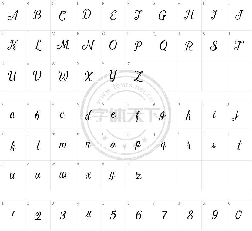 Pamega Script的字符映射图