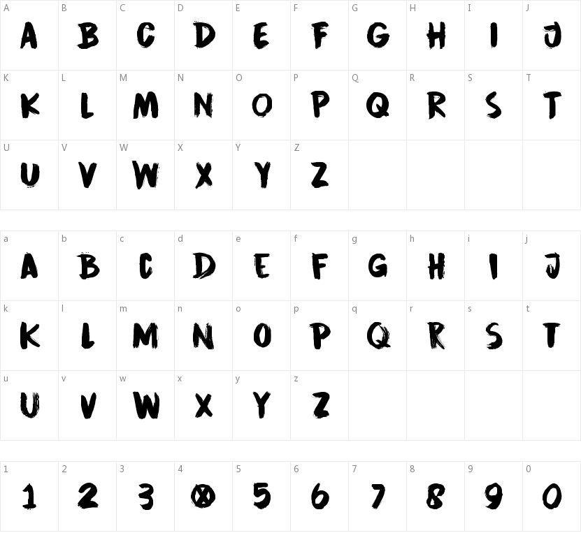 DK Cinnabar Brush的字符映射图