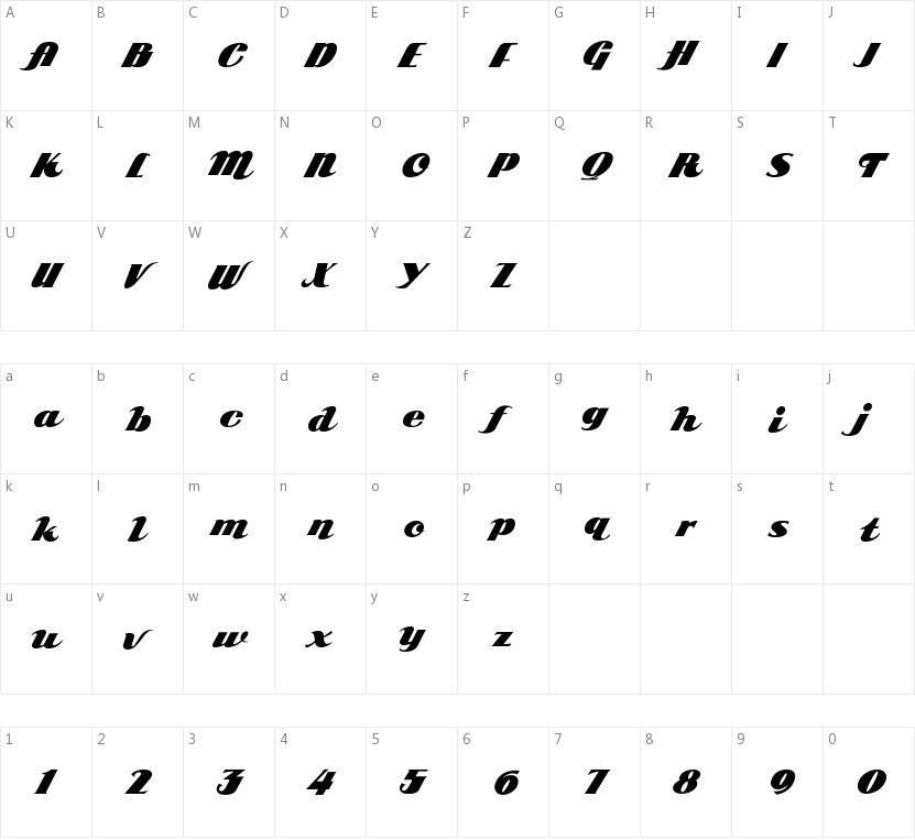 ARB 85 Poster Script JAN-39的字符映射图