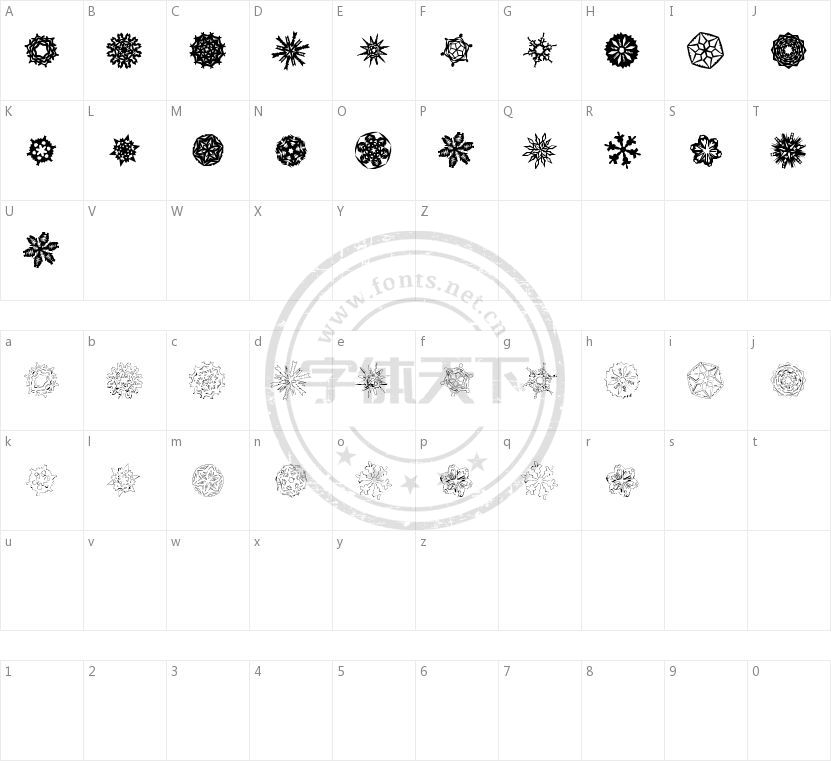 Paper-Snowflakes的字符映射图