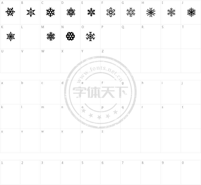 LP Snowflake的字符映射图