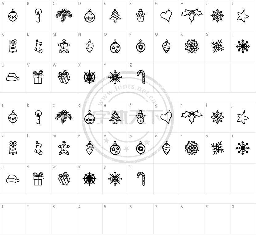 Xmasbats St的字符映射图