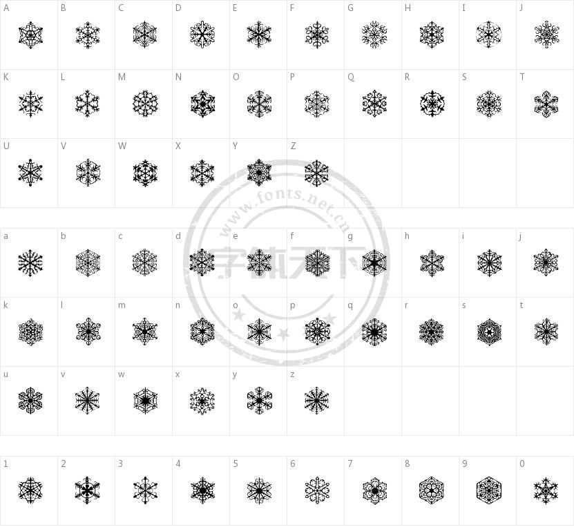 Faux Snow的字符映射图