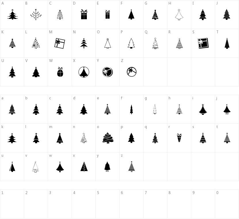 KG Christmas Trees的字符映射图