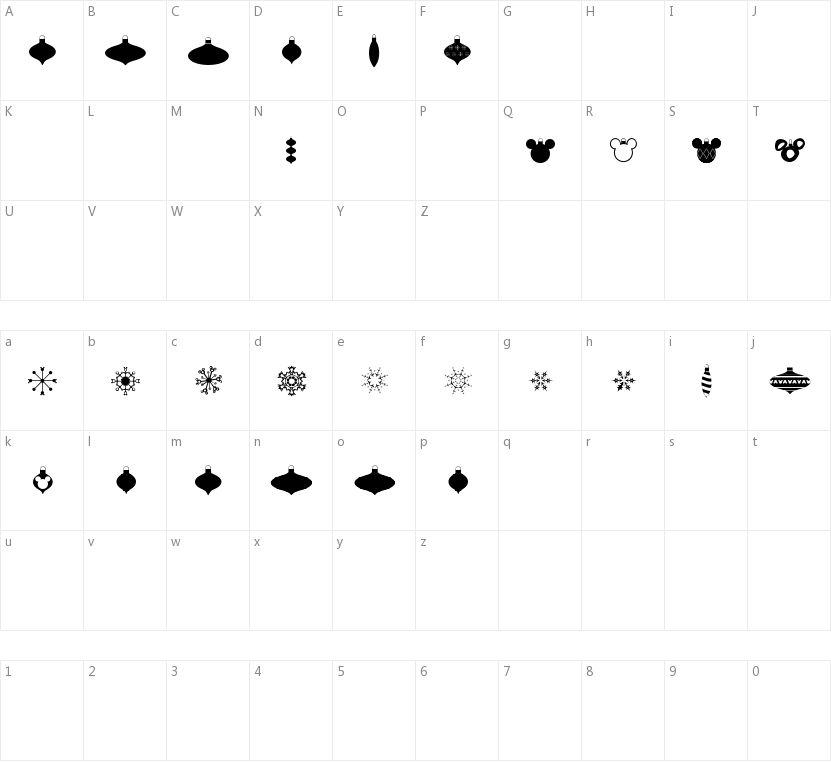 Christmas Mouse的字符映射图