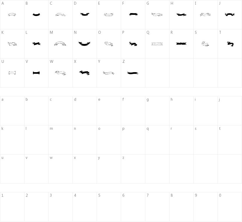 Black & White Banners的字符映射图