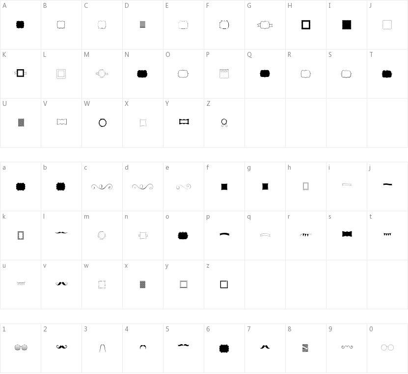 KG Flavor and Frames的字符映射图