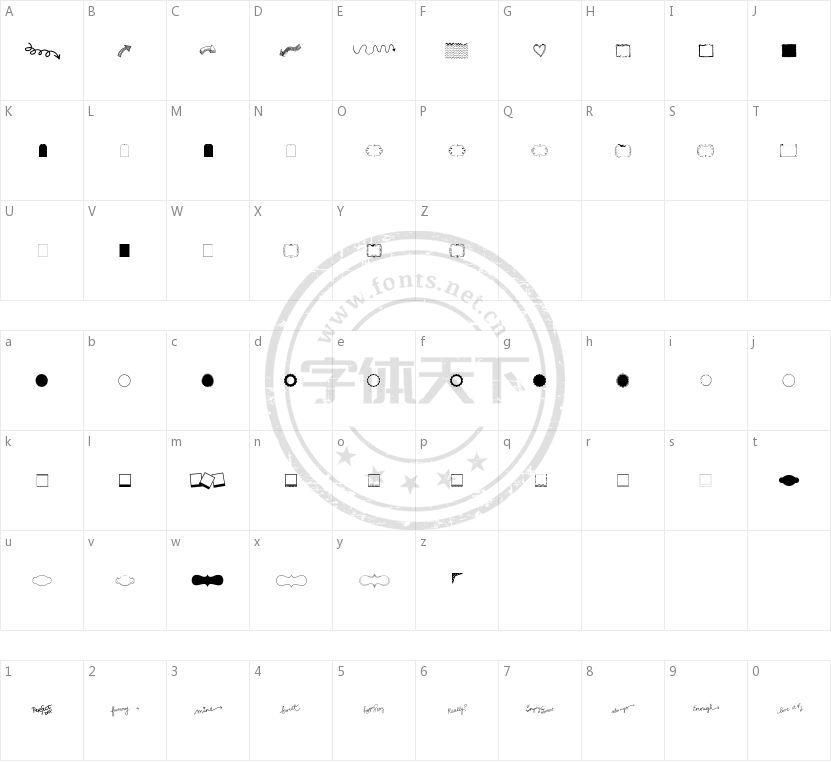 KG Flavor and Frames Three的字符映射图