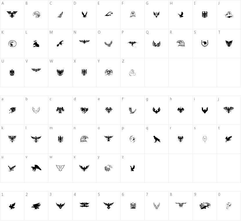 Eagle的字符映射图