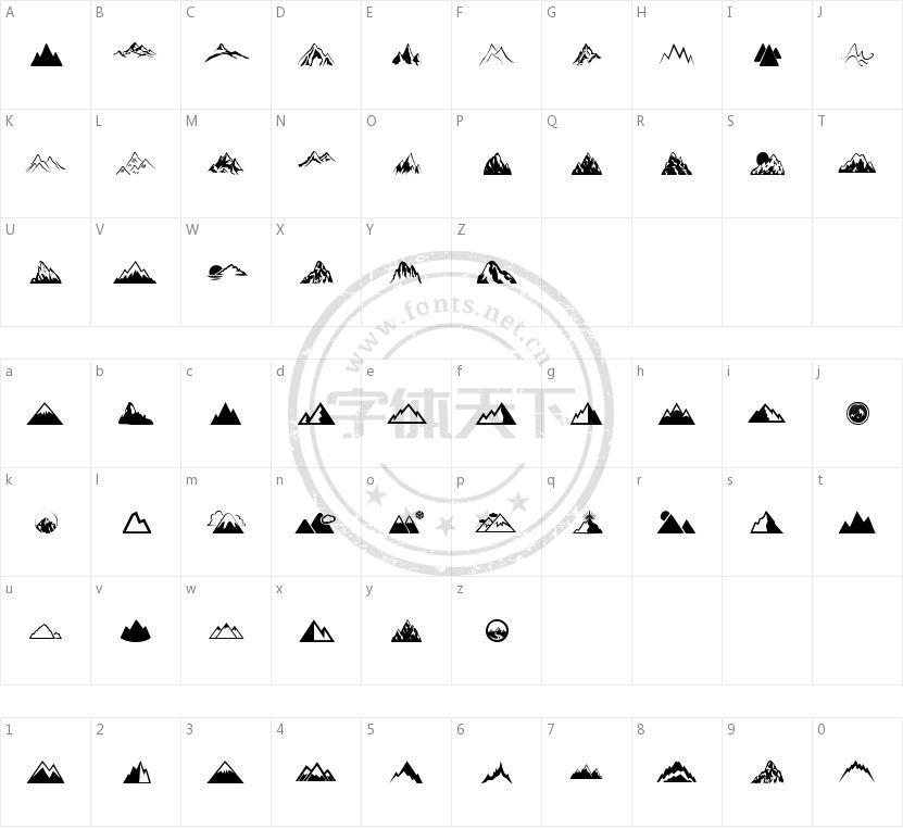 Mountain的字符映射图