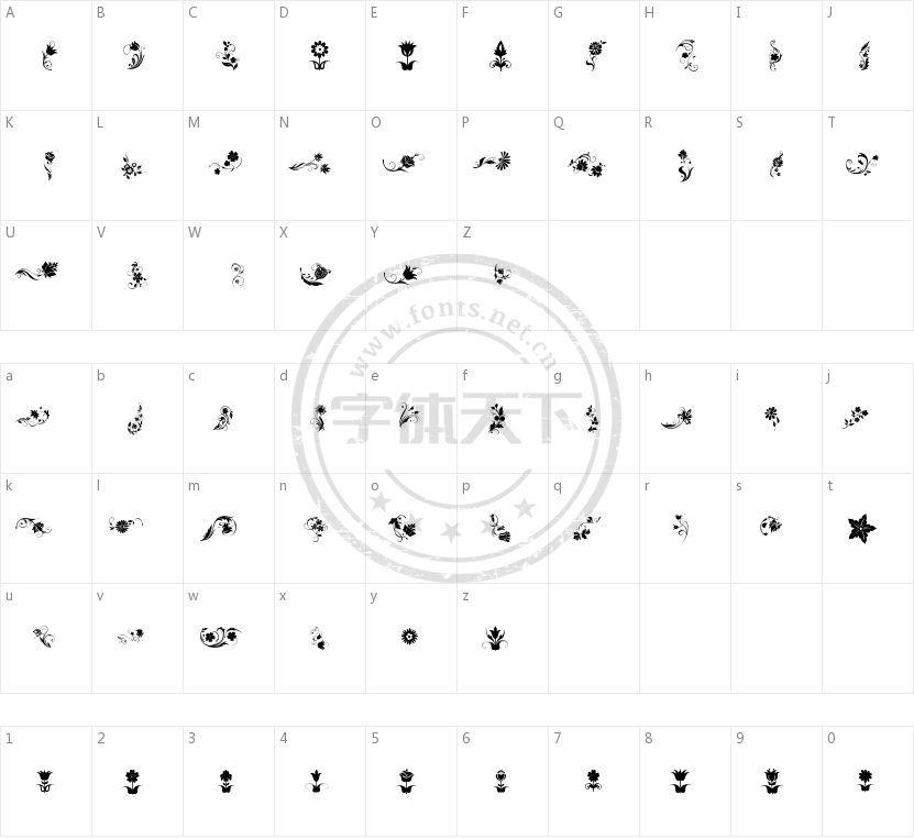 Fotograami Flower的字符映射图