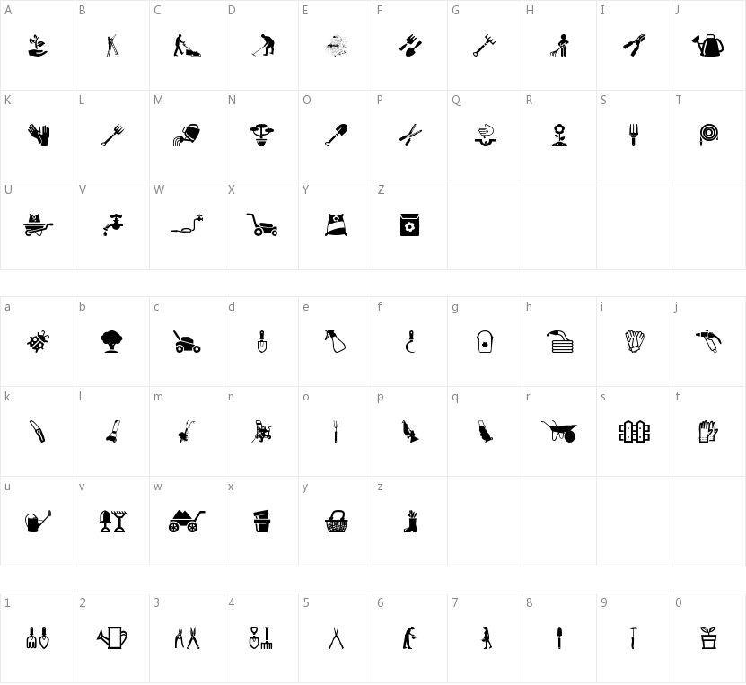Garden Icons的字符映射图