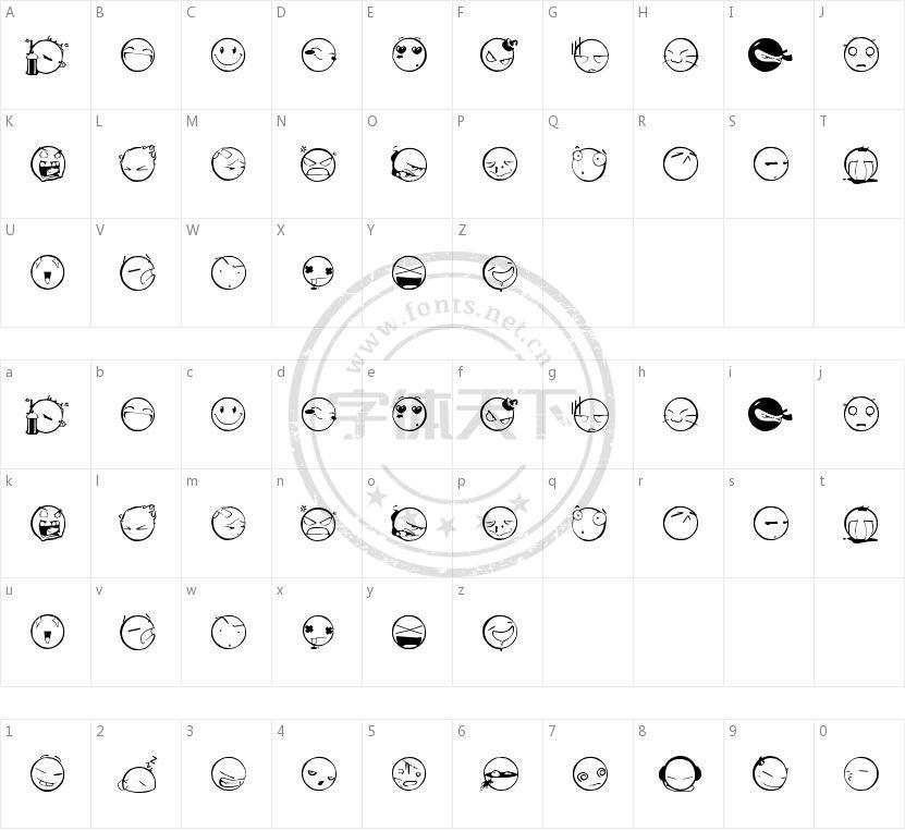 DIST Yolks Emoticons的字符映射图