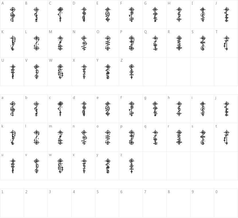 Vulcan Script的字符映射图