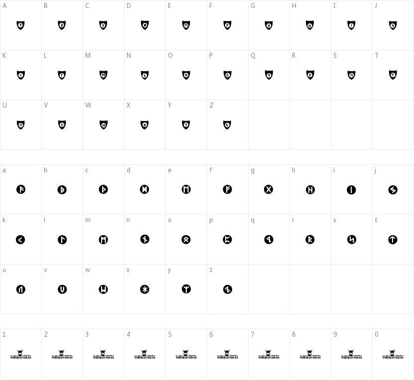 Viking Runes Shields的字符映射图