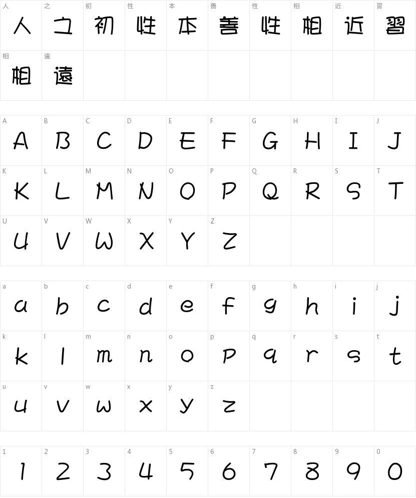 文鼎POP-4繁的字符映射图