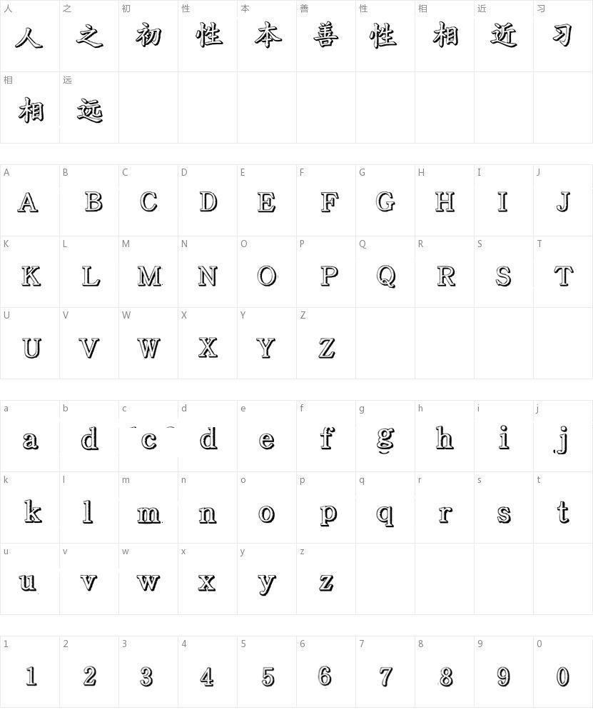 文鼎齿轮体的字符映射图