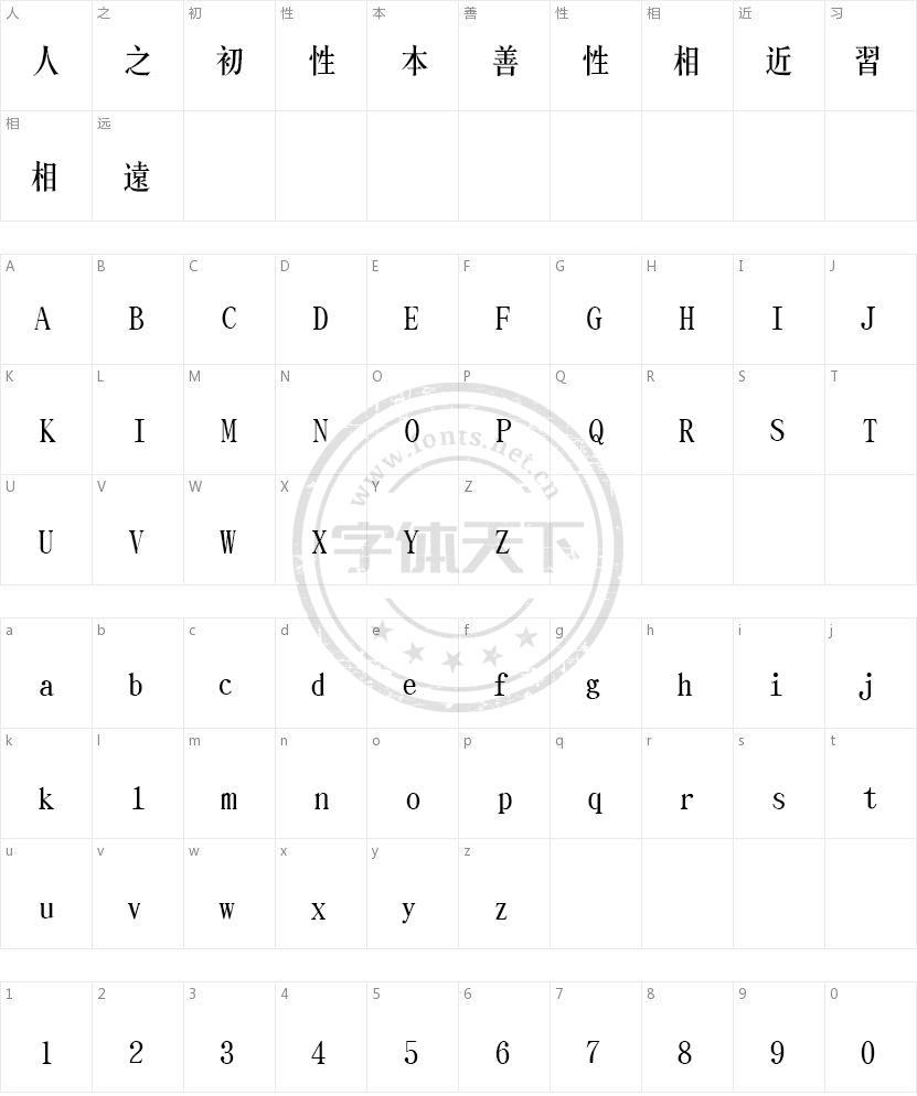 文鼎CS长宋繁的字符映射图