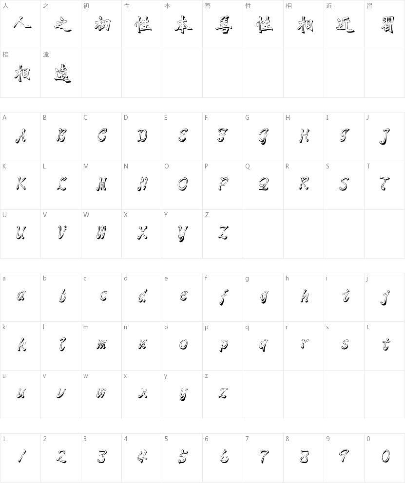 文鼎雕刻体的字符映射图