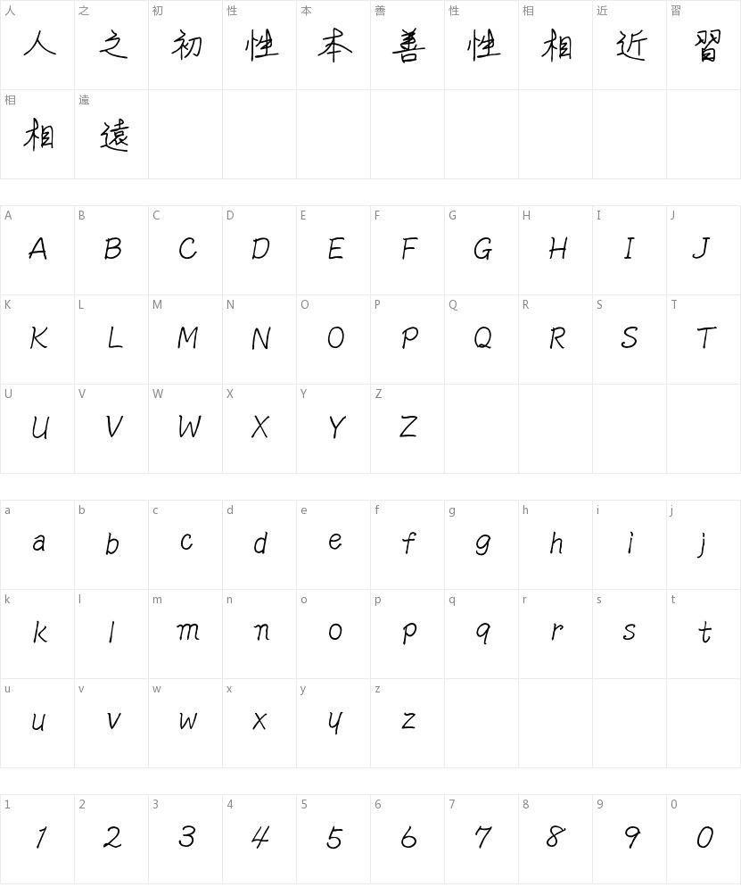 文鼎谁的字体繁的字符映射图