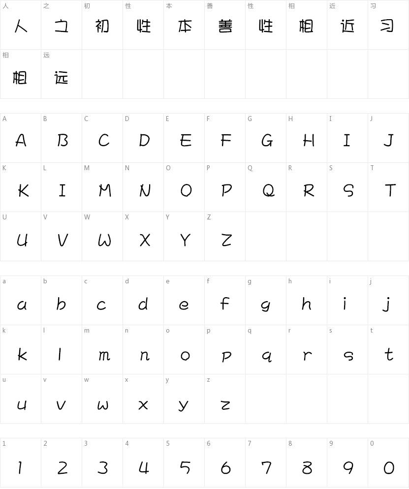 文鼎POP-4简体的字符映射图