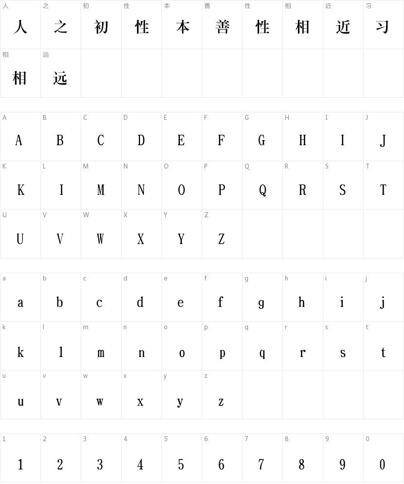 文鼎大标宋简的字符映射图