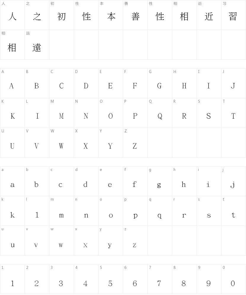 文鼎书宋繁的字符映射图