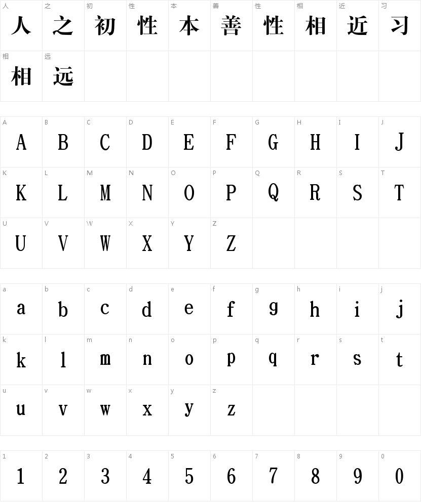 文鼎CS大宋简的字符映射图