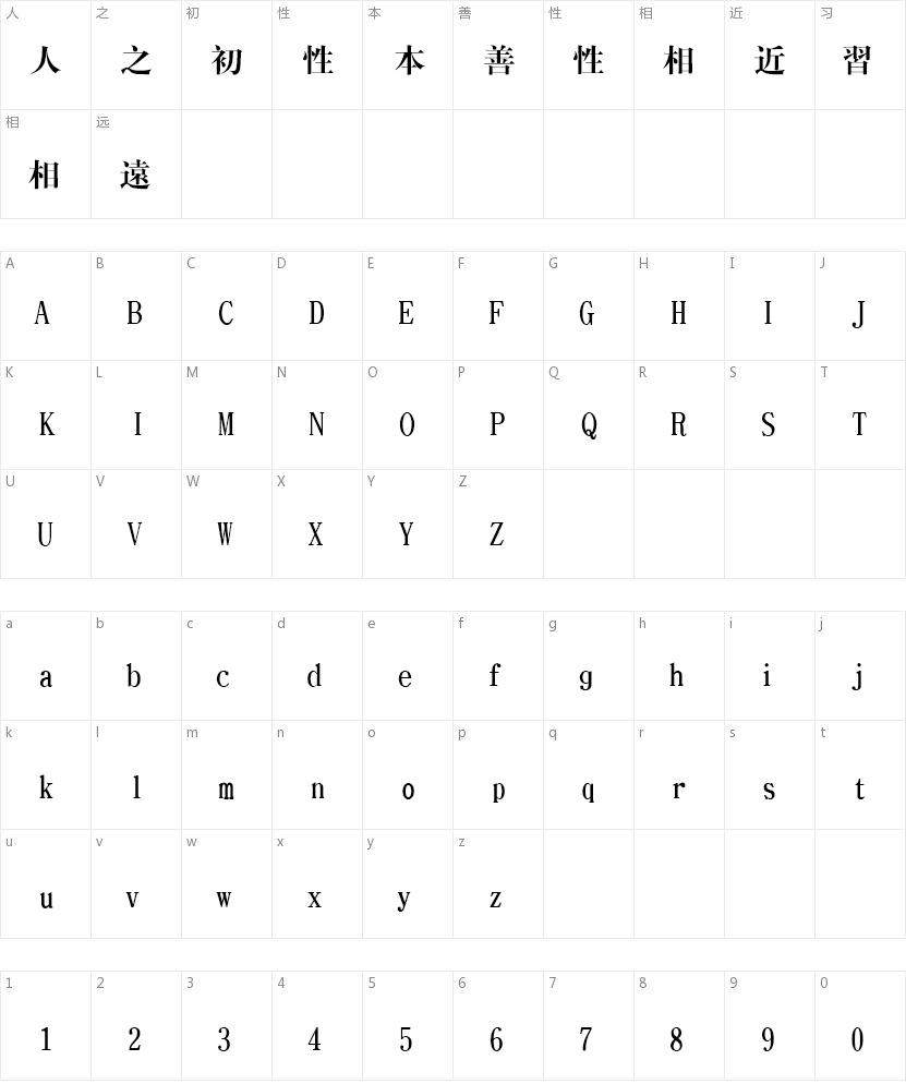 文鼎CS大宋繁的字符映射图