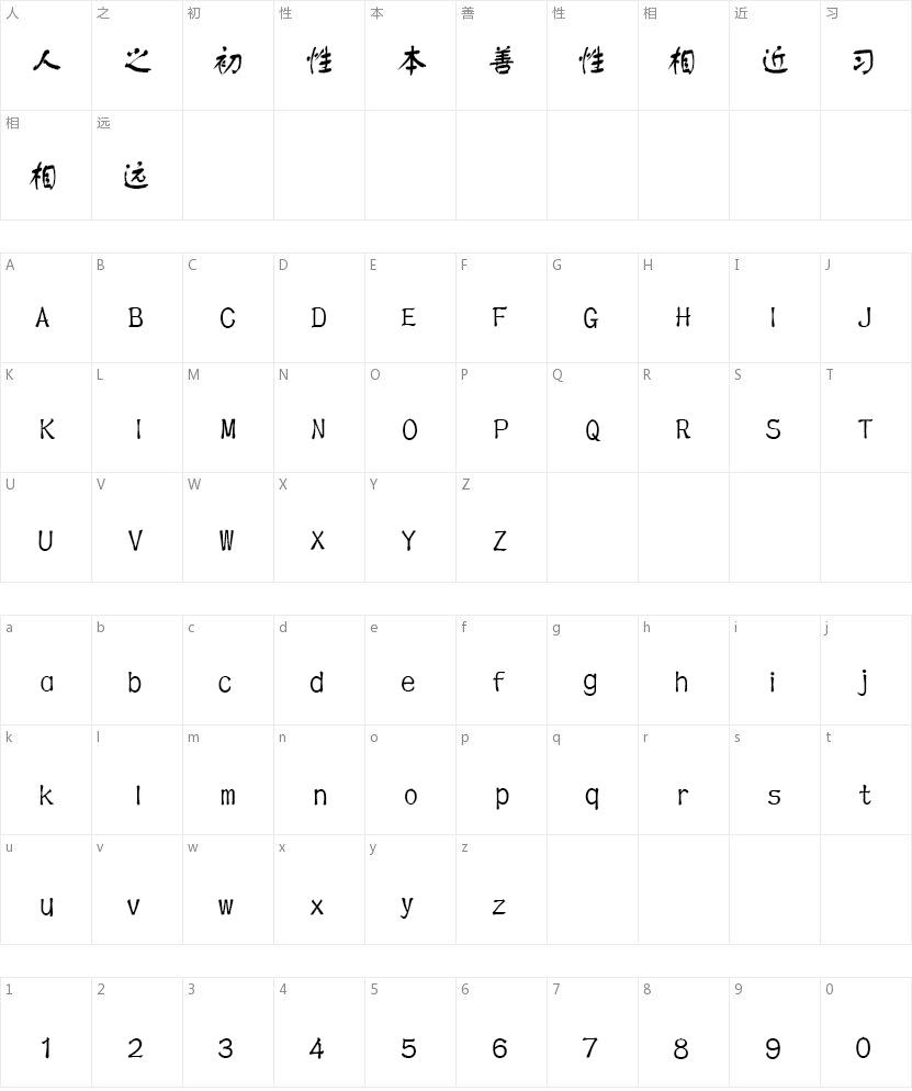 文鼎CS舒同体的字符映射图
