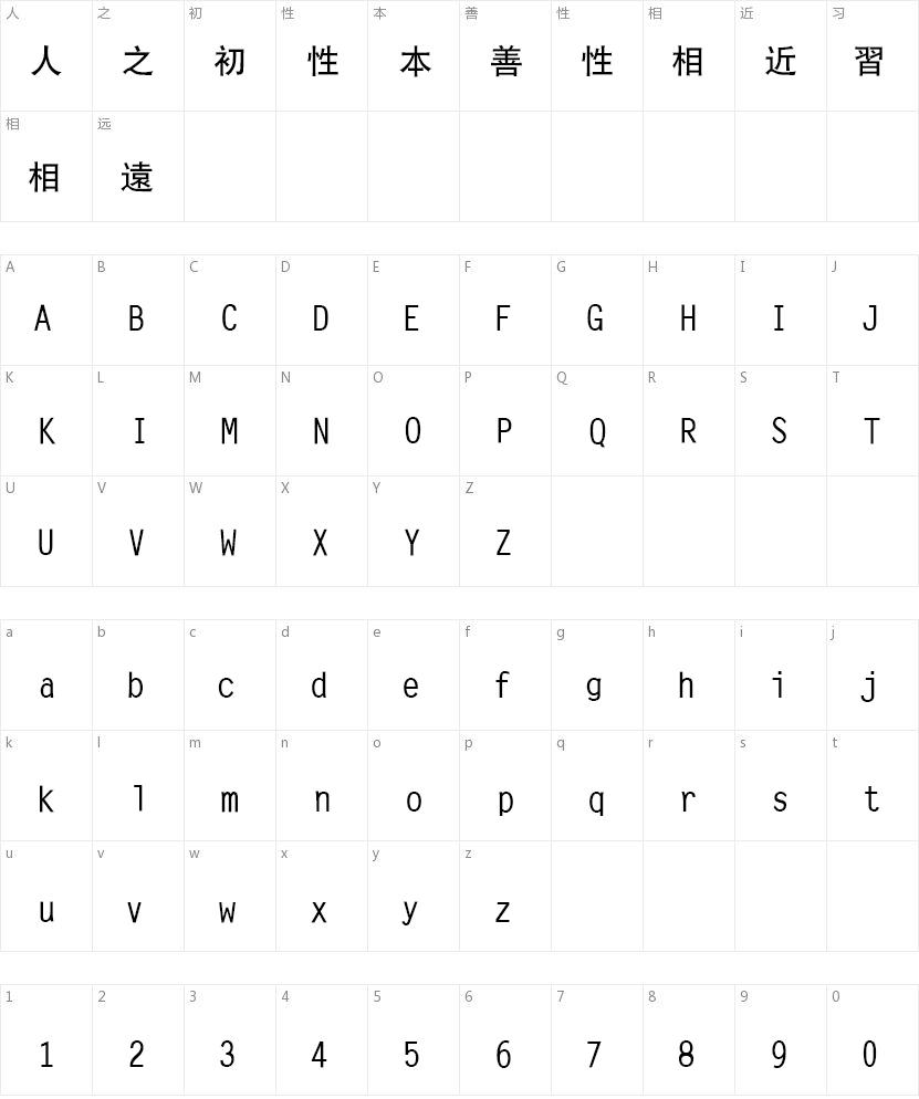 文鼎CS中黑繁的字符映射图