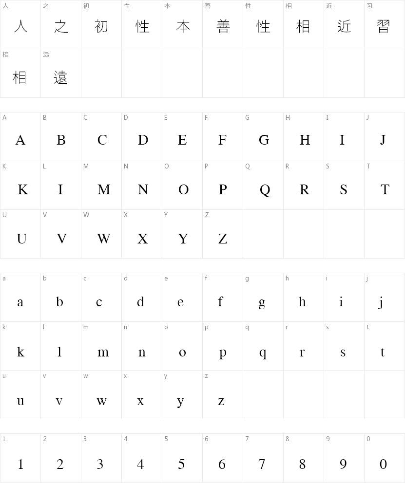 微软繁线体的字符映射图