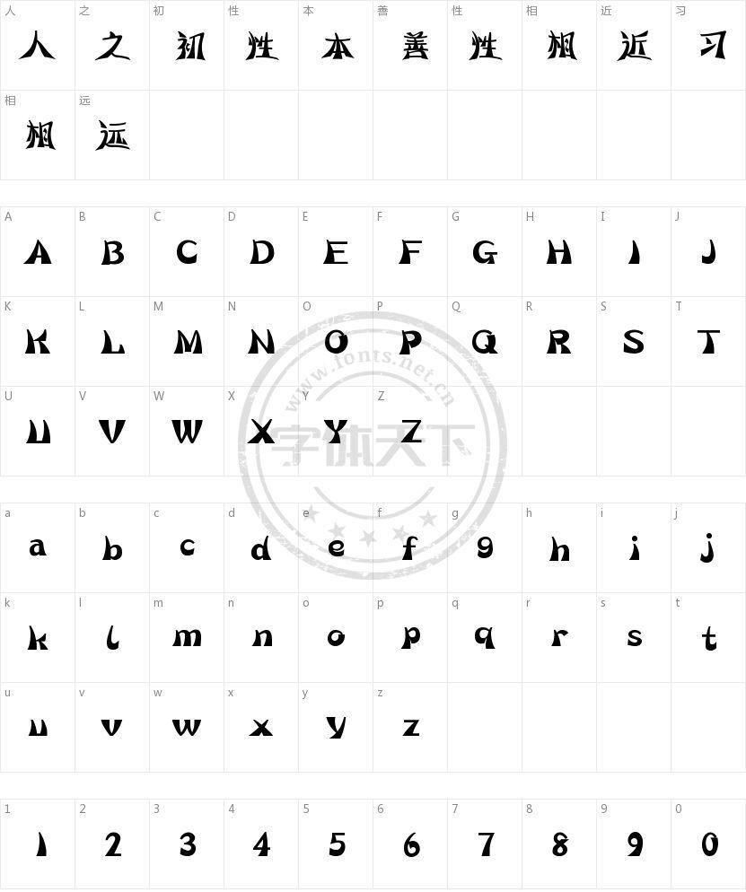 汉仪彩蝶体的字符映射图