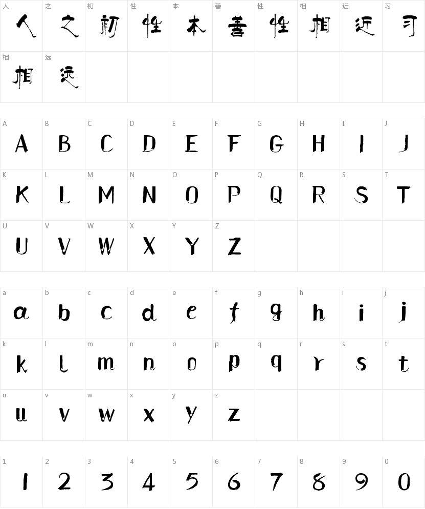 汉仪柏青体的字符映射图