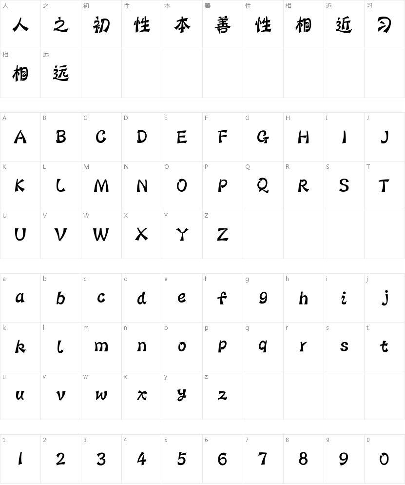 汉仪蝶语体简的字符映射图