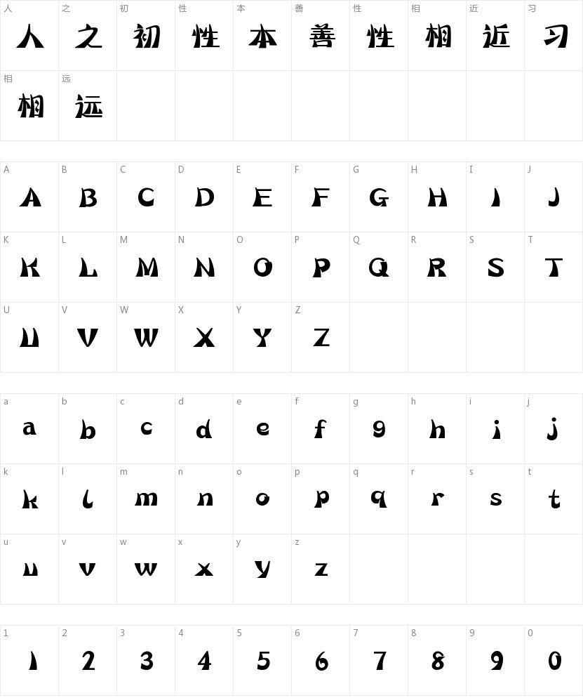 汉仪海韵体的字符映射图