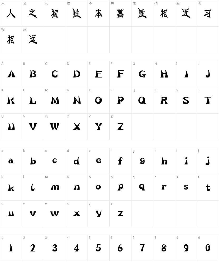 汉仪花蝶体简的字符映射图