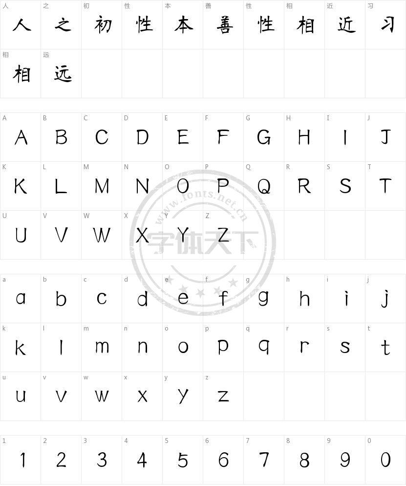汉仪南宫体的字符映射图