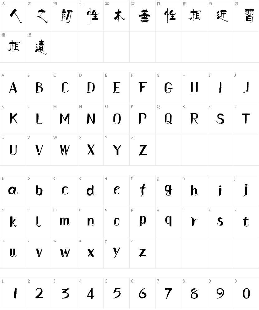 汉仪柏青体繁的字符映射图