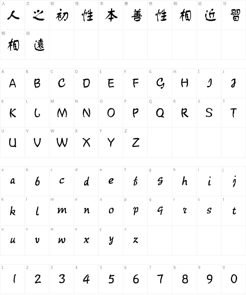 汉仪舒同体繁的字符映射图